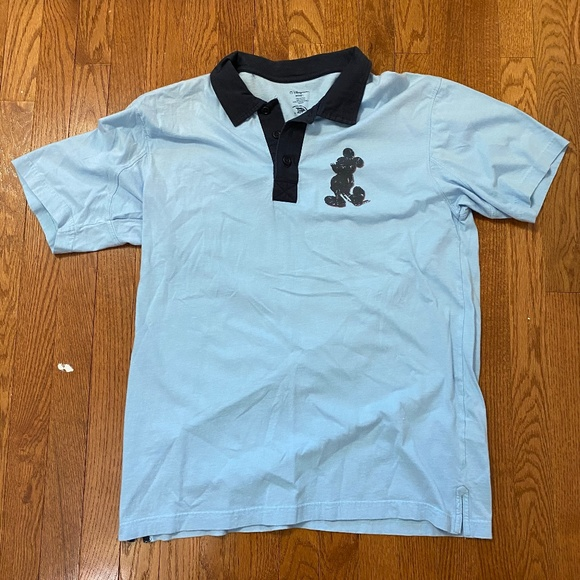 Disney Other - Mickey Mouse Light Blue Polo Button Shirt Men's L